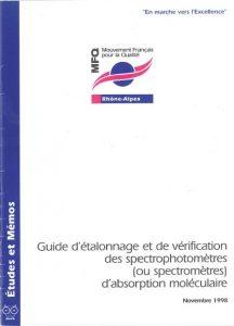 Couverture d'ouvrage: Guide d étalonnage et de vérification des spectrophotomètres