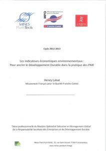 Couverture d'ouvrage: Les indicateurs économiques environnementaux