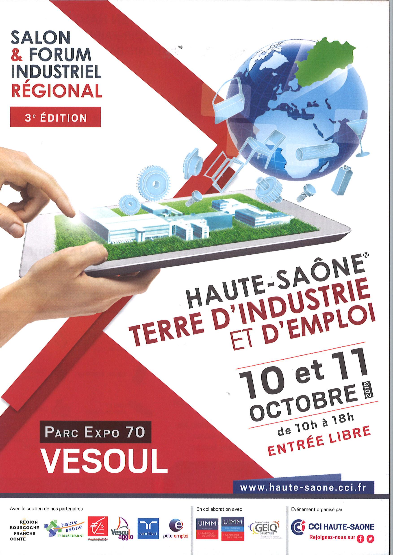 10 & 11/10/2018 : Haute-Saône terre d'industrie et d'emploi – 3e édition du salon & Forum industriel régional
