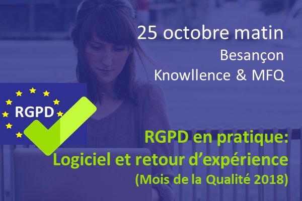 25/10/2018 : Atelier RGPD en pratique : logiciel et retour d'expériences, à Besançon